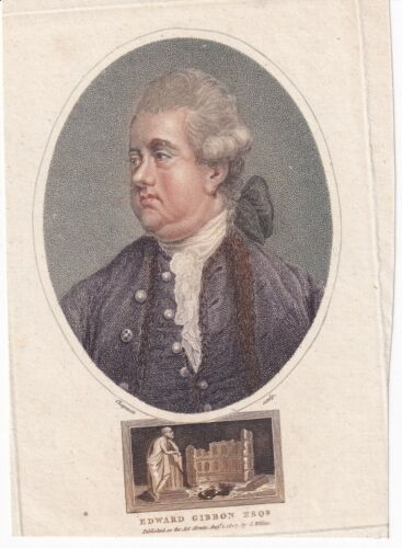 EDWARD GIBBON Historian and MP hand tinted engraving, 1807