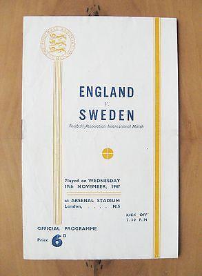 ENGLAND v SWEDEN 1947 @ ARSENAL *Excellent Condition Football Programme*
