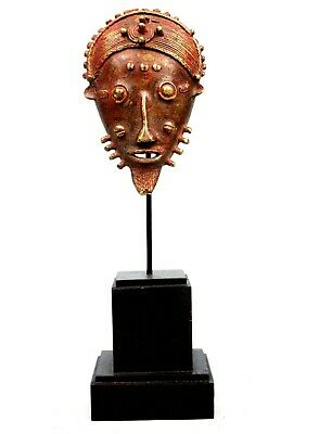 Art African - Antique Mask Pasport Bronze - Base on Gauges - 20,5 CMS