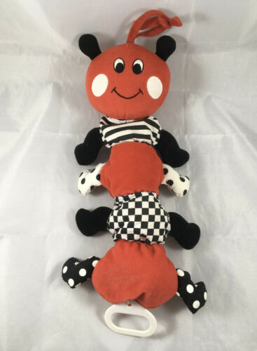 KIDS II Red Black White Caterpillar Musical Baby Crib Pull Stuffed Animal Toy