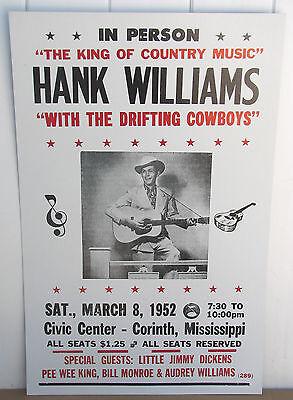 Vintage Hank Williams Concert Poster Drifting Cowboys1953 Corinth, Mississippi