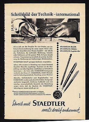3w1646/ Alte Reklame von 1960 - schreibe mit STAEDTLER - weil´s drauf ankommt.
