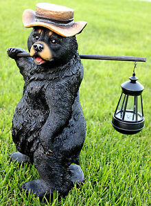 BEAR STATUE WITH SOLAR LIGHT SOLAR BEAR LANTERN FIGURINE BEAR BEAR