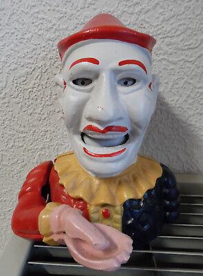 Nostalgie Spardose über 35 Jahre alt Bajazzo Clown Eisen Money Box