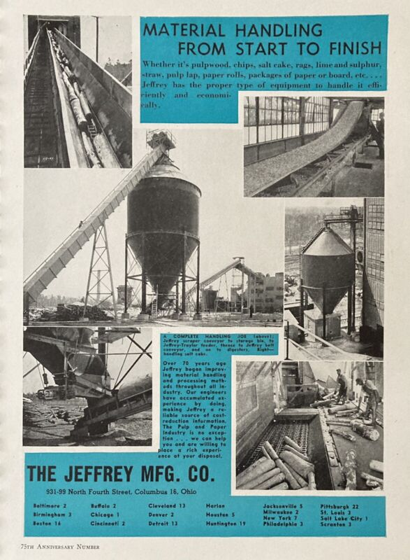 1948 AD(L11)~JEFFREY MFG. CO. COLUMBUS, OHIO. MATERIAL HANDLING EQUIPMENT