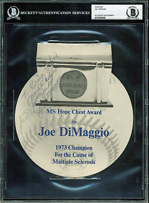 Yankees Joe DiMaggio Signed 7x8 1973 MS Hope Chest Award Program BAS Slabbed - Hope Chest Plan