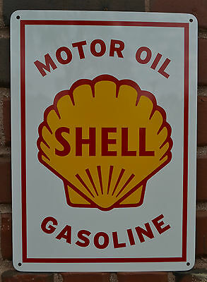 SHELL MOTOR OIL & GASOLINE VINTAGE Style METAL Gas Pump SIGN Advertising 10day