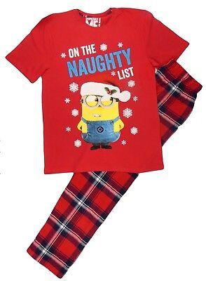 Mens Minions Christmas Pyjamas Sleepwear Lounge-Wear Small Mens