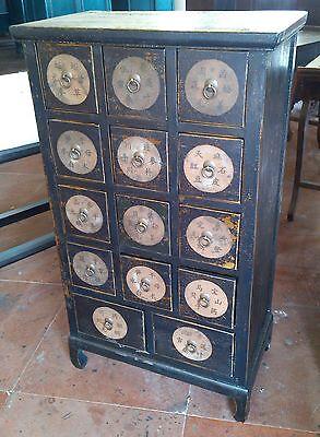Antiker Apothekerschrank Kabinet Schrank Apotheke Massivholz Breite66xHöhe114cm