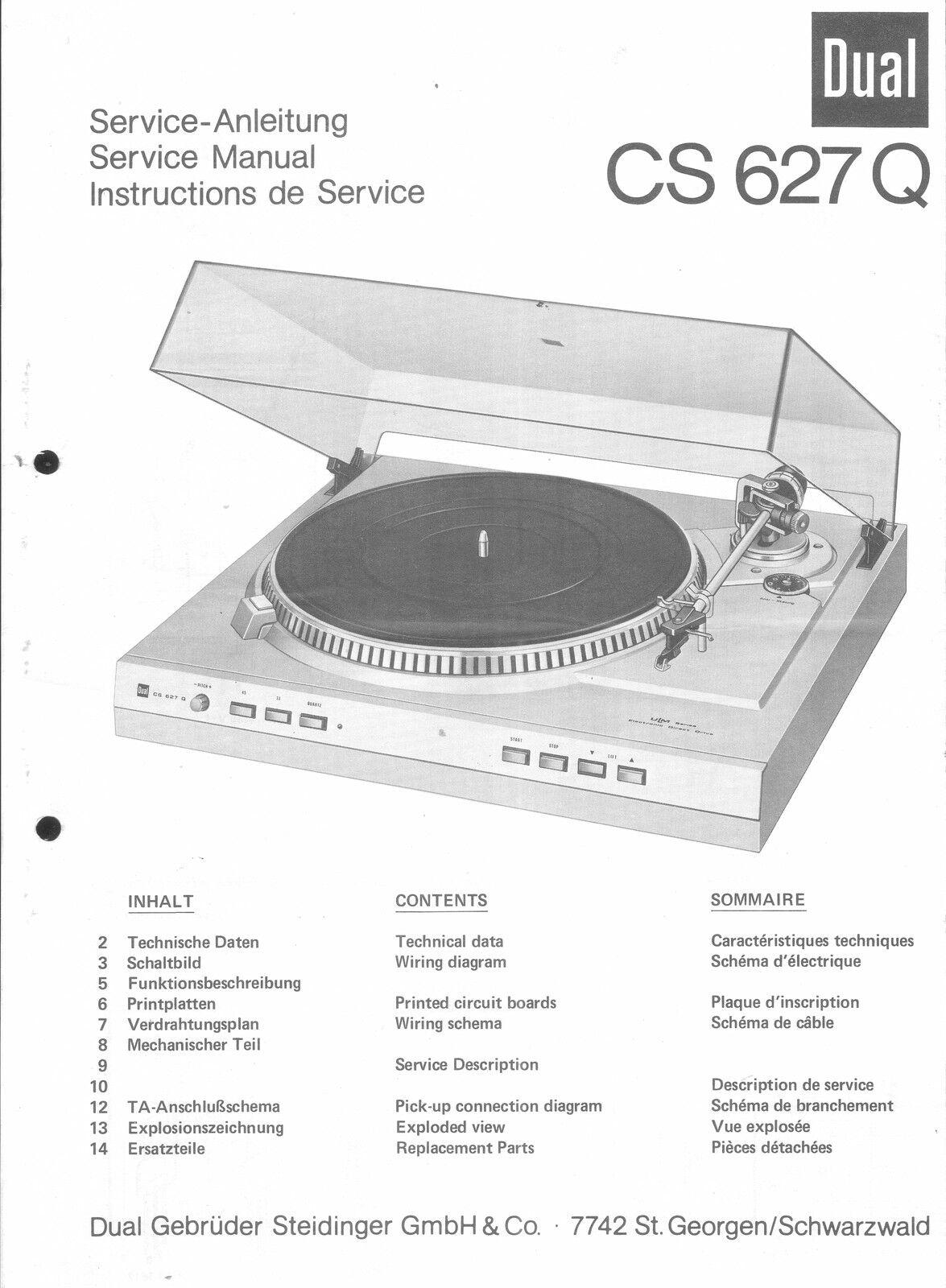 Dual Service Manual für CS 627 Q  Copy
