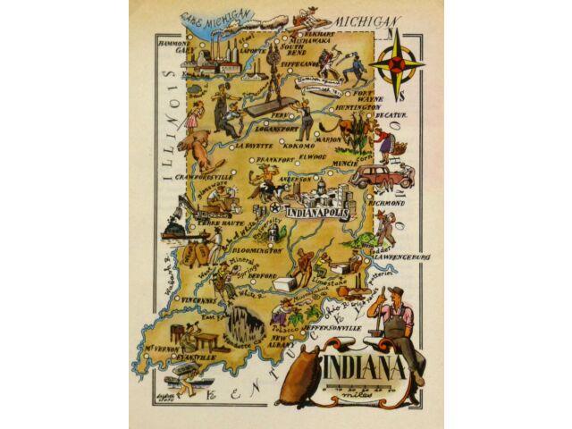 Indiana Antique Vintage Pictorial Map  (Postcard size)