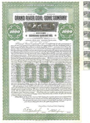 Bond - $1000 - Grand River Coal & Coke Co. - Missouri - 1912