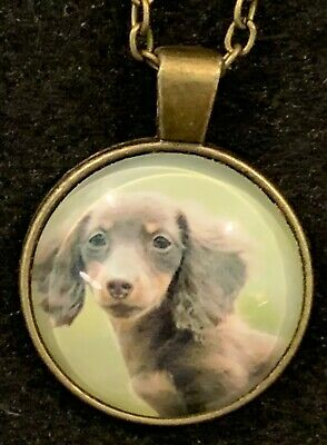 DOG Necklace NEW Domed Cabochon w/ chain (F) Bronze tone Puppy