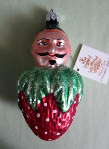 Vtg Christopher Radko Jacques Le Berry (White Dot Strawberry) Christmas Ornament