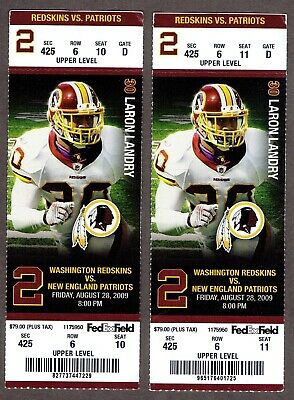 8/28/2009 Washington Redskins NFL Full Ticket x2 - New England Patriots