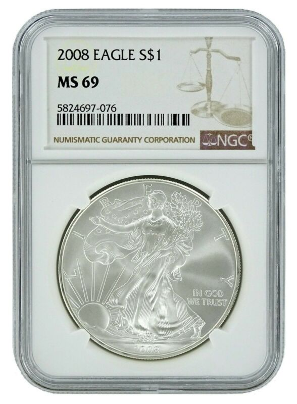 2008 1oz Silver American Eagle NGC MS69 Brown Label