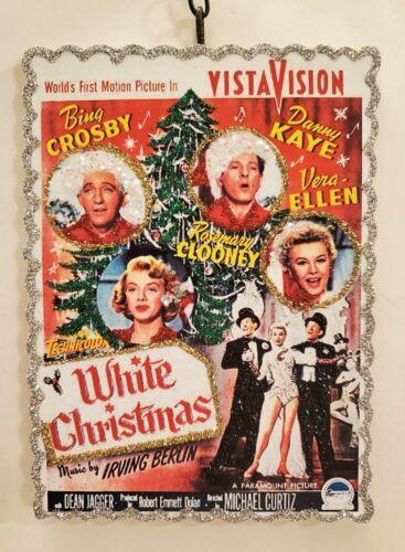 WHITE CHRISTMAS MOVIE POSTER * Glitter CHRISTMAS ORNAMENT * Vtg Img
