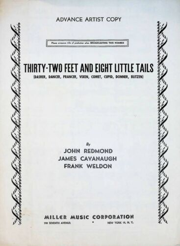 Thirty Two Feet And Eight Little Tails 1951 Sheet Music
