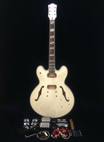 No-Soldering,Glued Neck,Semi-Hollow Body Electric Guitar DIY+Tuner,Picks. 272DIY
