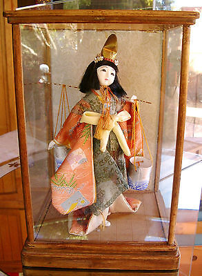 Vintage Japanese DOLL - SHIOKUME - Salt Scooper Gofun Kimono Cloth DOLL - LOVELY