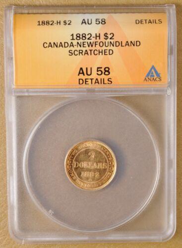 1882 H Canada Newfoundland $2 Gold ANACS AU 58 Details