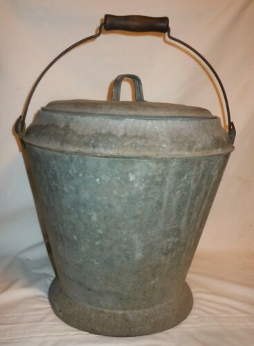 "Vtg UNIQUE Galvanized ""Dustless"" Ash Bucket w/ Lid & Carrying Bail & Wood Handle"
