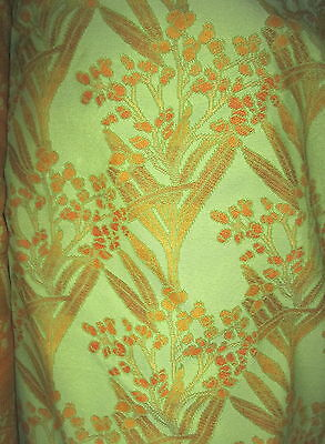Vintage Shades of Orange & Peach Reeds & Berries Pistachio Upholstery Fabric