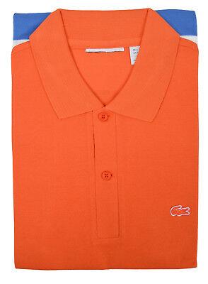 Lacoste Mens Orange Color block Striped Pique Polo Shirt Sz Fr 7 Us 2XL XXL