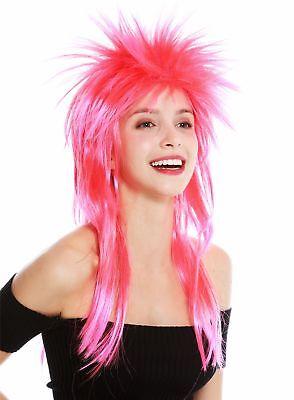 80 ' S Perücke (Perücke Karneval Punk Vokuhila Rocker wild 80s Wave toupiert lang rot rosa)