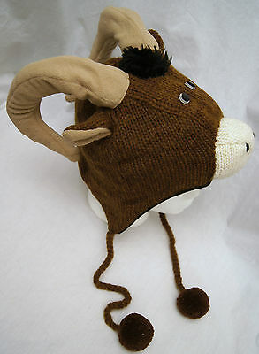 LONGHORN SHEEP HAT knit ADULT ram cap dodge costume mountain goat brown delux - Sheep Adult Costume