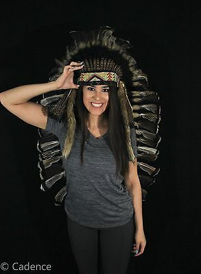 Authentic Native American Indian Handmade Headdress Cherokee War Bonnet. Nice!