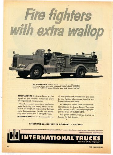1953 International Trucks Ad: Los Angeles County Pumper Fire Truck Pictured