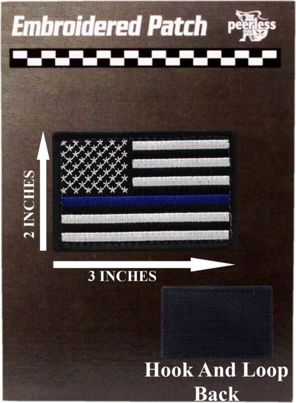 """Blue Line Flag Patch Hook And Loop 2"""" x 3"""""""