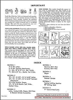 South Bend Lathe Parts List-9in 10in Partial 13in Parts Manual