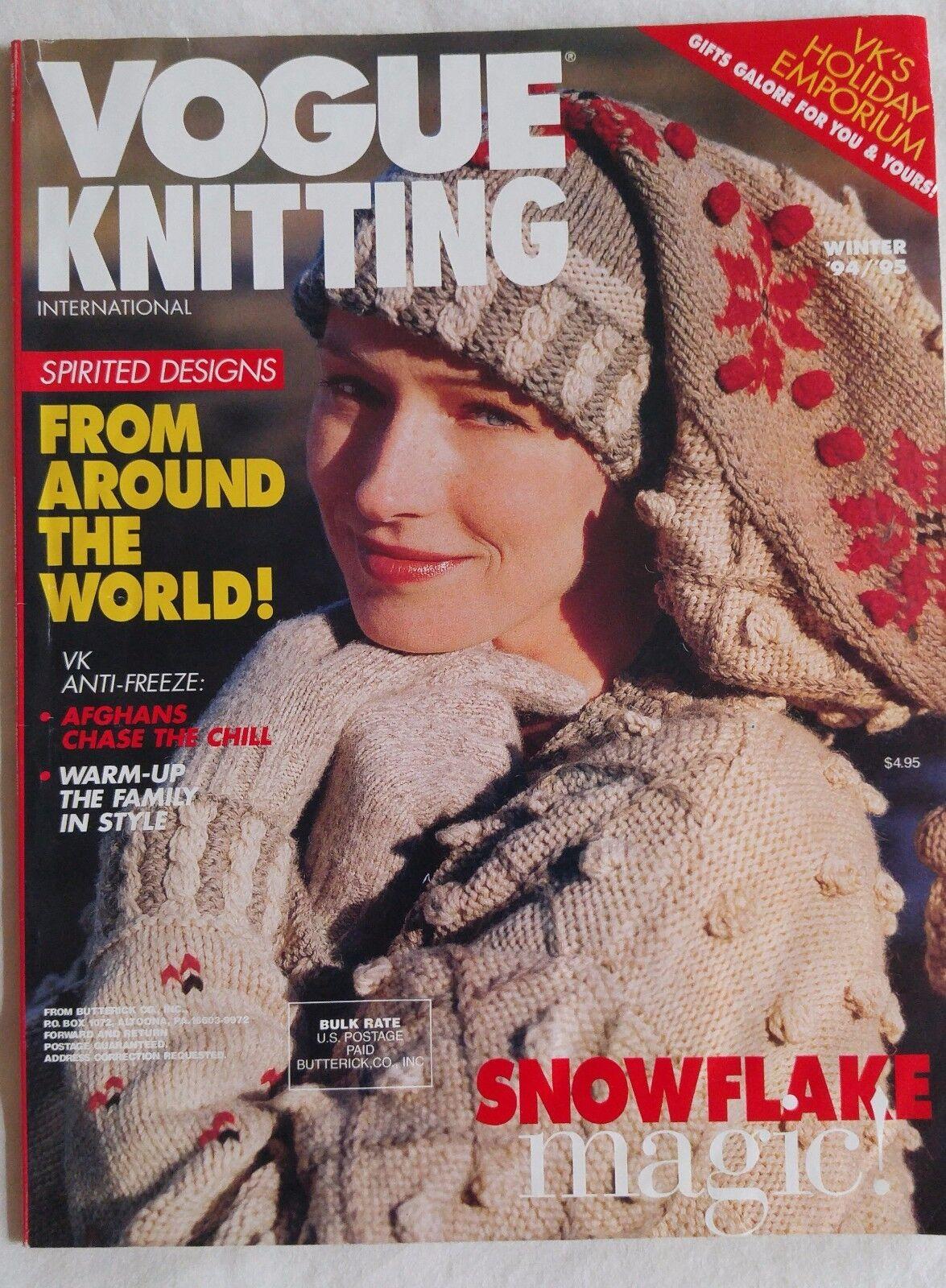 Vogue Knitting Pattern Magazine WINTER 1994 1995 Snowflake Magic ...