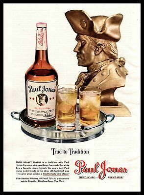 """1947 Paul Jones 86 Proof Fine Blended Whiskey """"True To Tradition"""" Print Ad"""