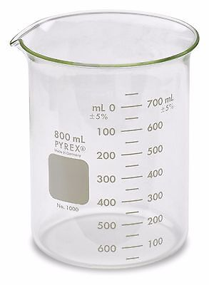 Corning Pyrex 1000 Griffin Low Form Glass Beaker 800ml - Single