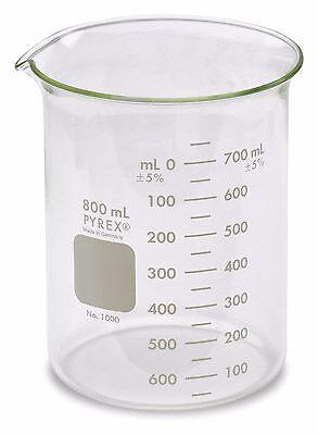 Corning Pyrex 1000 Griffin Low Form Glass Beaker 800ml - Single