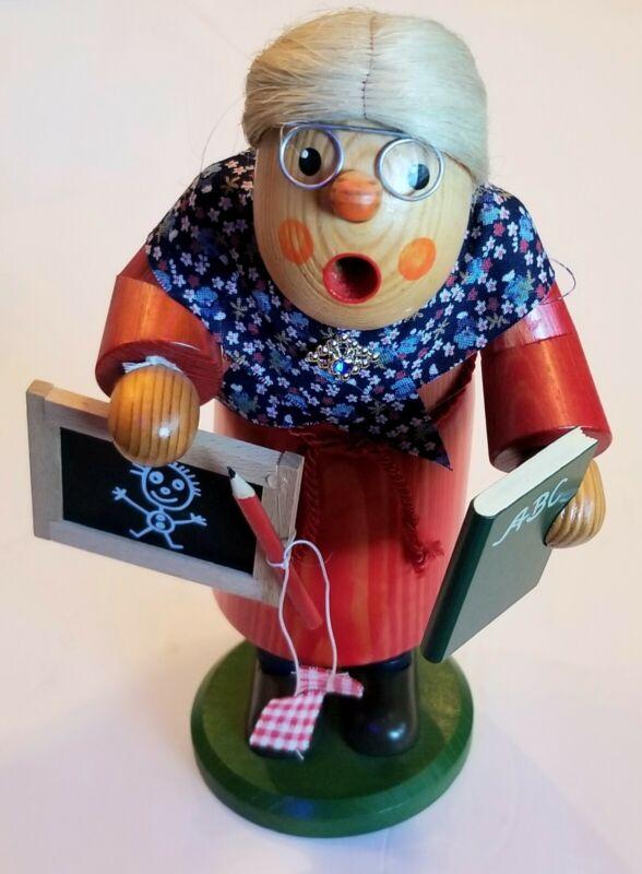 Vtg Rare Wood Geiffener Handarbeit German Teacher Old Lady Incense Smoker Figure
