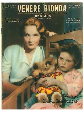 CINEMA ILLUSTRAZIONE SUPPLEMENTO N. 2 1933 VENERE BIONDA MARLENE DIETRICH