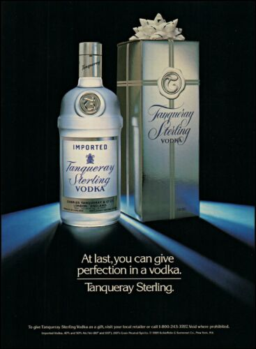 1990 Tanqueray Sterling vodka gift box bottle bow vintage photo Print Ad ads36