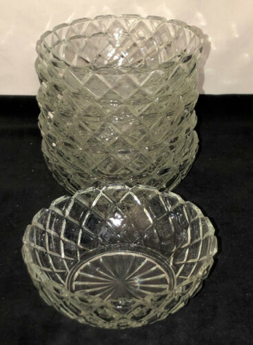 "6 Anchor Hocking WATERFORD/WAFFLE CRYSTAL 5 1/2"" CEREAL BOWLS"