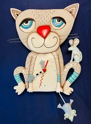 ALLEN DESIGNS MOUSER CAT WALL CLOCK with MOUSE PENDULUM - AA BATTERY - GREAT!
