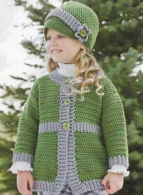 SUNDAY BEST COAT & HAT CHILD 4 SIZES CROCHET PATTERN (Best Baby Sun Hat)