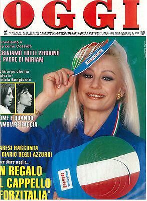 OGGI 25 20 GIUGNO 1990 RAFFAELLA CARRA' MONDIALI CALCIO ITALIA '90 FRANCO BARESI