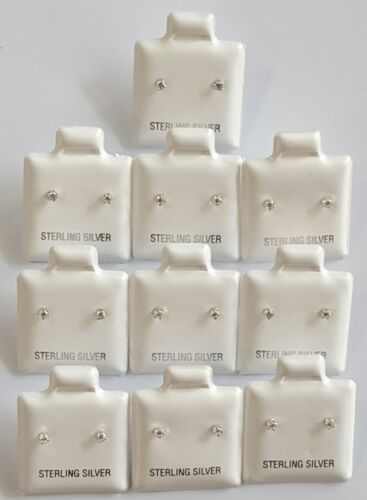 2 mm Round Cubic Zirconia Stud Earrings 10 PAIR  Wholesale  925 Sterling Silver