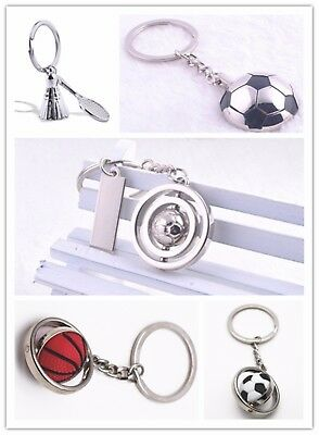 3D Silver Rotating Sport Metal Football Badminton Basketball Keychain Keyring
