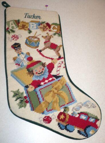 TUCKER Christmas Holiday Collectible Needlepoint Stocking TOYS