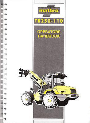 Matbro TR250-110 Operators Manual Handbook on CD TR 250 110 Turbo