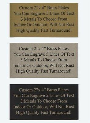 Engraved Custom 2x 4 Aluminum Gift Trophy Name Plate Plaque Tag Art Label